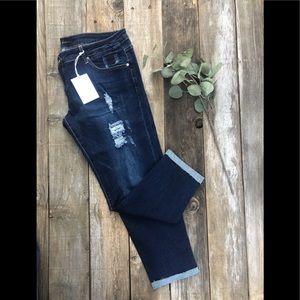 Kancan Distressed Ripped Dark Denim Jeans